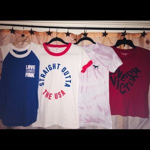4 Piece Victoria's Secret PINK T-Shirt Bundle